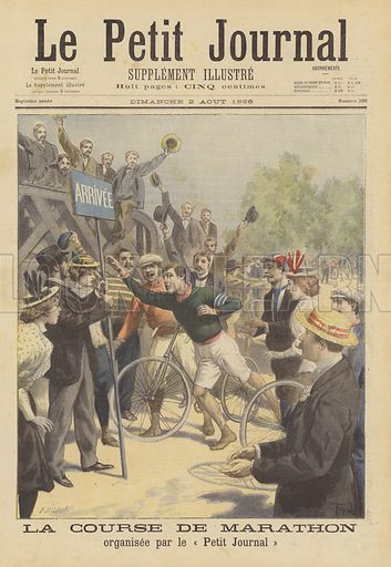 Marathon organised by Le Petit Journal. Britain's Len Hurst winning the first edition of the Paris Marathon. La course de Marathon organisee par le Petit Journal. Illustration for Le Petit Journal, 2 August 1896.