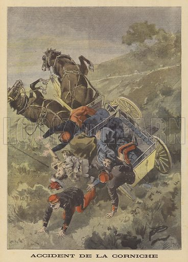 Carriage accident on the Corniche between Eze and La Turbie. Two passengers were killed when the carriage overturned and crashed into a ravine. Accident de la Corniche. Illustration for Le Petit Journal, 31 July 1898.