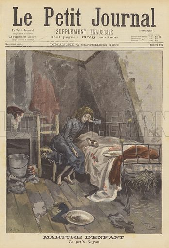 Suicide of Lucie Guyon, an abused ten year-old girl. Martyre d'enfant. La petite Guyon. Illustration for Le Petit Journal, 4 September 1898.