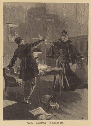 A Parisian crime. The wife of a member of the French Chamber of Deputies shooting an employee of a newspaper over an article insulting her husband. Un drame parisien. Illustration for Le Petit Journal, 9 October 1898.
