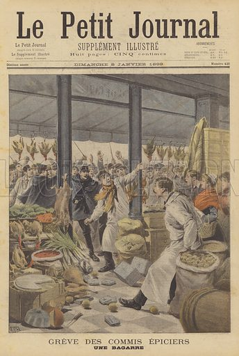 A scuffle during a strike by grocers' clerks. Greve des commis epiciers. Une bagarre. Illustration for Le Petit Journal, 8 January 1899.