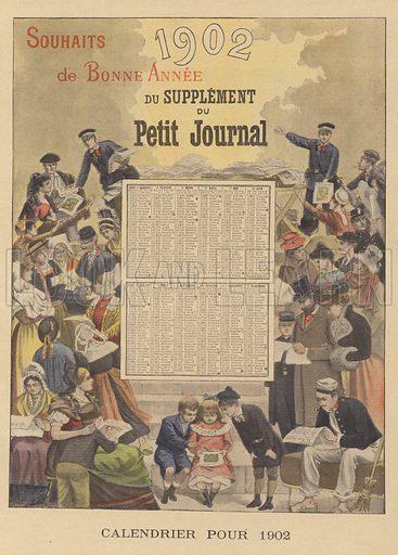 Calendar for 1902. Calendrier pour 1902. Illustration for Le Petit Journal, 29 December 1901.