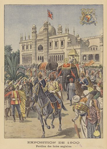 The Pavilion of British India at the Exposition Universelle of 1900 in Paris. Exposition de 1900. Pavillon des Indes Anglaises. Illustration for Le Petit Journal, 30 September 1900.