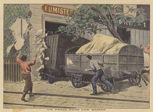 A derailed goods train crashed into a house in Paris. Un train dans une maison. Illustration for Le Petit Journal, 14 October 1900.