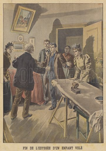 The end of the odyssey of an abducted child. Jules Labarre reunited with his family nine years after being stolen by gypsies. Fin de l'odyssee d'un enfant vole. Illustration for Le Petit Journal, 30 December 1900.