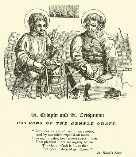 St Crispin and St Crispinian, Patrons of the Gentle Craft. Illustration for The Every-Day Book and Table Book or Everlasting Calendar of Popular Amusements by William Hope (Thomas Tegg, 1838).