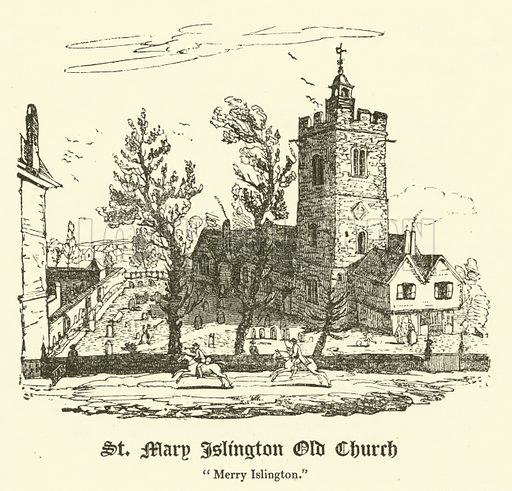 """St Mary Islington Old Church, """"Merry Islington"""". Illustration for The Every-Day Book and Table Book or Everlasting Calendar of Popular Amusements by William Hone (Thomas Tegg, 1838)."""
