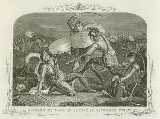 Richard III slain in battle at Bosworth Field. Illustration for The History of England by Hume and Smollett with a continuation by J C Campbell (Thomas Kelly, c 1870).