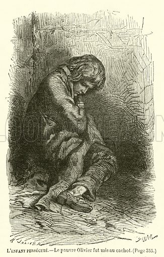 L'Enfant Persecute, Le pauvre Olivier fut mis au cachot. Illustration for La Recreation, 10 January 1880.