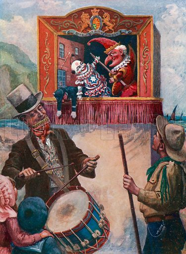 Mr Punch at the seaside. Illustration for Chatterbox Annual, 1911.