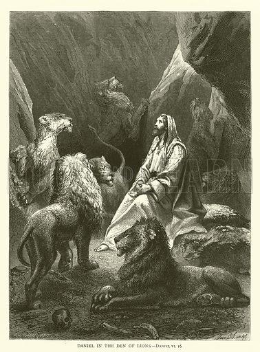 Daniel in the Den of Lions, Daniel, VI, 16. Illustration for The Sunday Scrap Book (Cassell, c 1890).