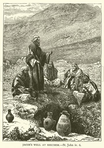 Jacob's well at Shechem, St John, iv, 6. Illustration for The Sunday Scrap Book (Cassell, c 1890).