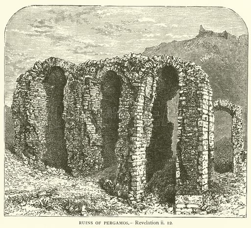 Ruins of Pergamos, Revelation, ii, 12. Illustration for The Sunday Scrap Book (Cassell, c 1890).