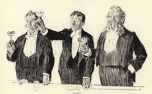 The Queen, The Royal Toast.  Illustration for London As Seen by Charles Dana Gibson (Charles Scribner, 1897).