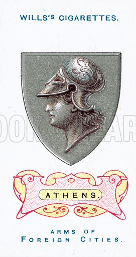 Athens. Illustration for one of a set of cards on the theme of Arms of Foreign Cities published by Wills's Cigarettes, early 20th century.