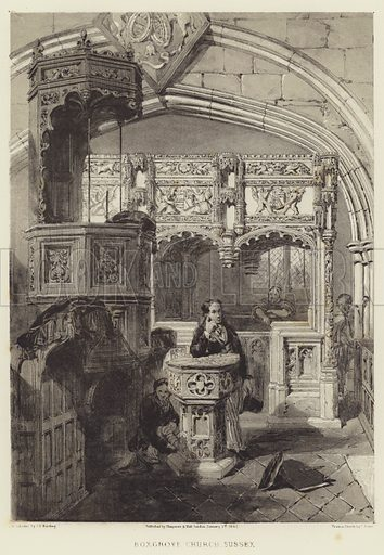 Boxgrove Church, Sussex. Illustration for The Baronial Halls by SC Hall (Chapman and Hall, c 1850).