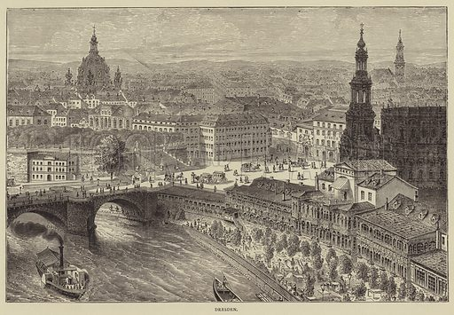 Dresden. Illustration for Pictures from the German Fatherland by the Rev Samuel G Green (Religious Tract Society, c 1885).
