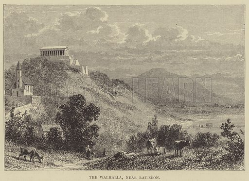 The Walhalla, near Ratisbon. Illustration for Pictures from the German Fatherland by the Rev Samuel G Green (Religious Tract Society, c 1885).