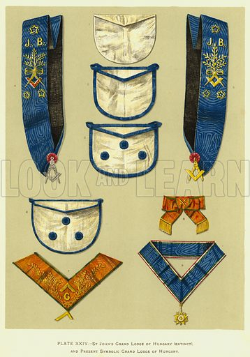 St John's Grand Lodge of Hungary (extinct) and Present Symbolic Grand Lodge of Hungary. Illustration for The History of Freemasonry by Robert Freke Gould (Caxton, c 1900).