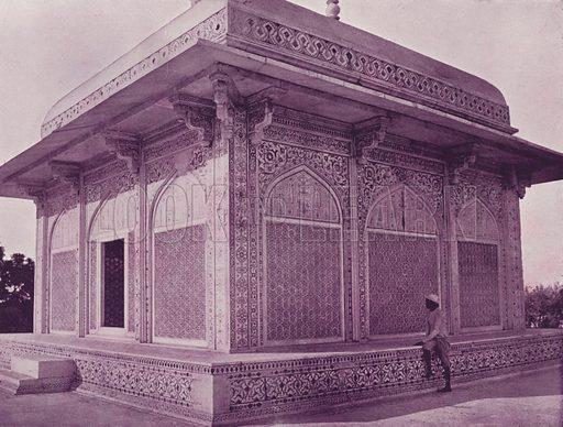 Mausoleum of Itmad-ud-Dowlah. Illustration for Glimpses of India (CB Burrows, 1895).