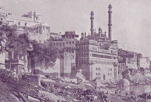 Great Mosque of Aurangzib, Benares. Illustration for Glimpses of India (C B Burrows, 1895).