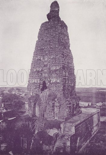 The Old Tower, Buddh Gaya, before Restoration. Illustration for Glimpses of India (CB Burrows, 1895).