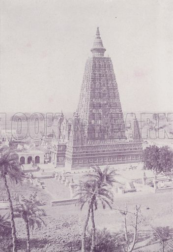 The Old Tower, Buddh Gaya, as restored. Illustration for Glimpses of India (CB Burrows, 1895).