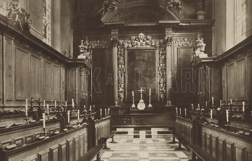 Trinity College Chapel, 1691-94. Illustration for Just Oxford (Homeland Association, c 1928).  Gravure-printed.