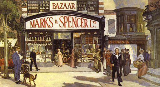 The 1914–18 War brought an end to the Penny range article and higher priced merchandise brought a change in shopfronts, and displays. Illustration from booklet on history of Marks & Spencer, c 1950.