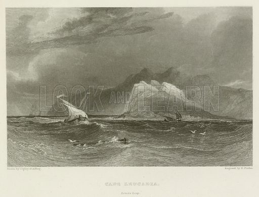 Cape Leucadia, Lovers Leap. Illustration from a volume of Byron-related prints published by John Murray, 1830s.