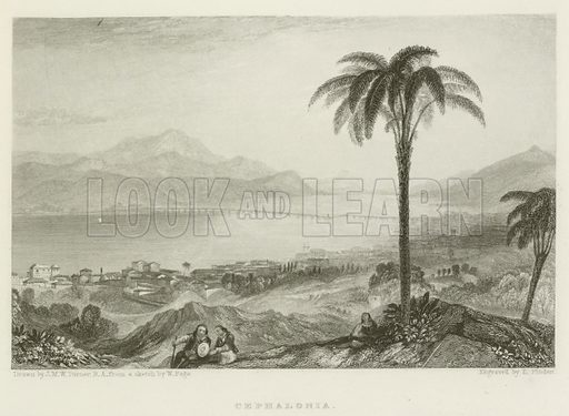 Cephalonia. Illustration from a volume of Byron-related prints published by John Murray, 1830s.