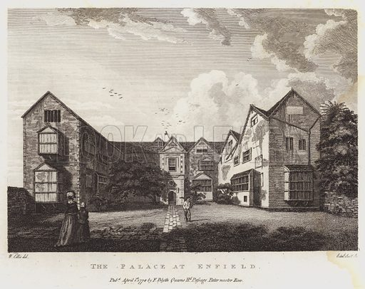 The Palace at Enfield. Illustration for The Antiquarian Repertory by Francis Grose and others (new edn, Edward Jeffery, 1807ff).