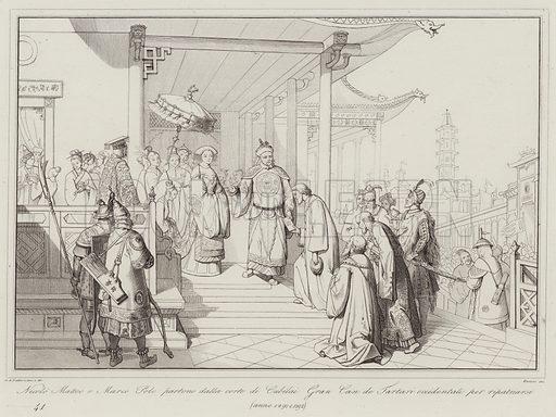Nicolo Matteo e Marco Polo partono dalla corte di Cubilai Gran Can de Tartari occidentali per ripatriarsi, 1291