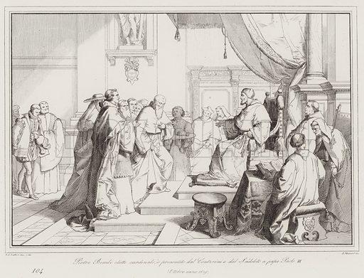 Pietro Bembo eletto cardinale, e presentato dal Contarini e dal Sadoleto a papa Paolo III, 1539. Illustration for Storia Veneta Espressa in Centocinquanta Tavole (Grimaldo, 1867).
