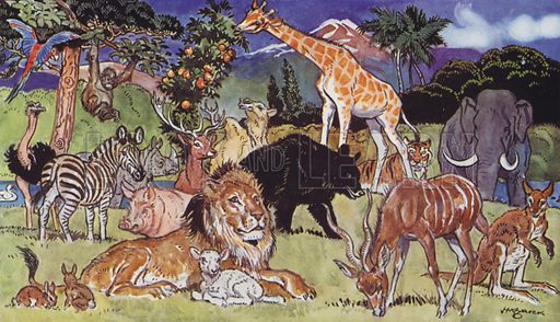 Birds and Beasts. Illustration for The Bible Story (Marshall, Morgan & Scott, c 1910).