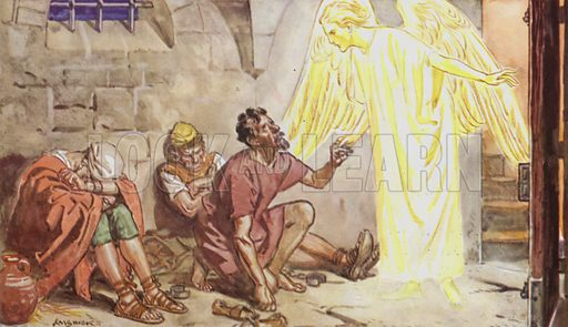 Peter in Prison. Illustration for The Bible Story (Marshall, Morgan & Scott, c 1910).