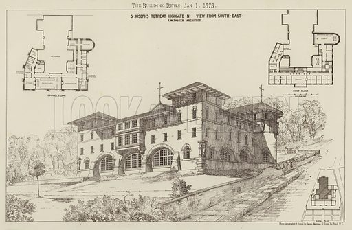 S Joseph's Retreat, Highgate, N, View from South East. Illustration for The Building News, 1 January 1875.