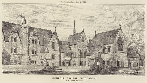 Memorial College, Cuddesdon. Illustration for The Building News, 6 August 1875.