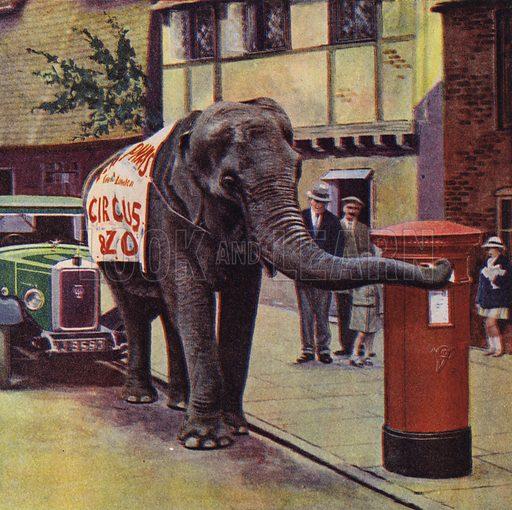 Elephant posting a letter. Illustration for Rat Tat Tat, My Friend The Postman (Ward Lock, c 1933).