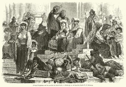 Groupe de paysans sur les marches de Saint-Pierre. Illustration for Le Tour Du Monde (Hachette, 1867 1H).