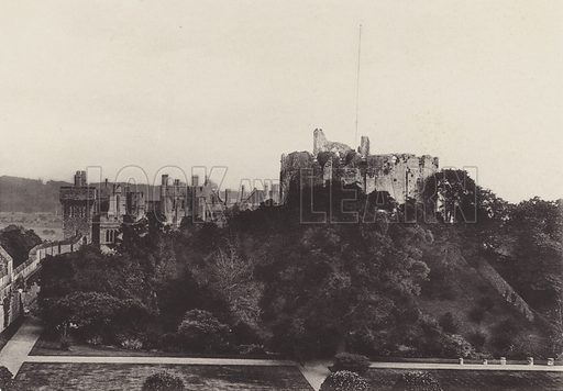 The Castle and Keep. Illustration for Views of Arundel, published by C Kimpton, c 1910. Printed in gravure.