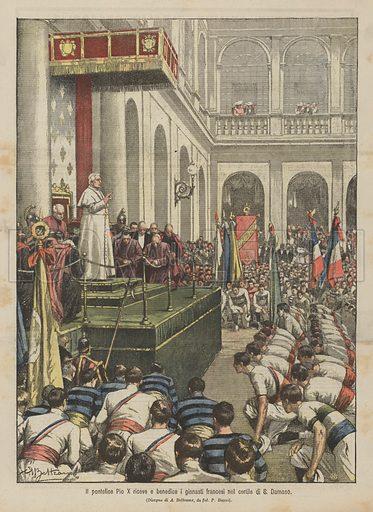 Il pontefice Pio X riceve e benedice i ginnasti francesi nel cortile di S Damaso. Illustration for La Domenica Del Corriere, 23 September 1906.