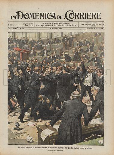 Cio che e avvenuto la settimana scorsa al Parlamento austriaco fra deputati italiani, czechi e tedeschi. Illustration for La Domenica Del Corriere, 9 December 1906.