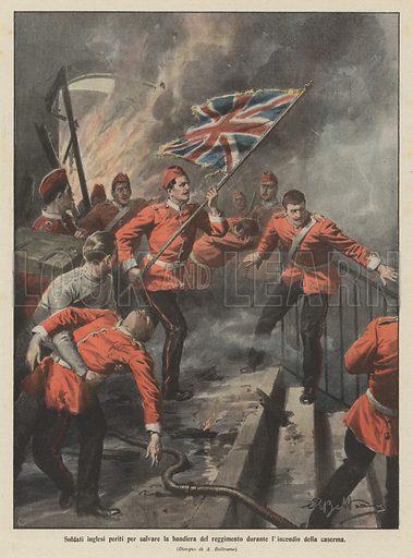 Soldati inglesi periti per salvare la bandiera del reggimento durante l'incendio della caserma. Illustration for La Domenica Del Corriere, 19–26 April 1908.