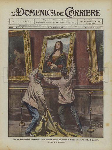 Come sia stato possibile l'impossibile, cioe il furto dal Louvre del ritratto di Monna Lisa del Giocondo, di Leonardo. Illustration for La Domenica Del Corriere, 3–10 September 1911.