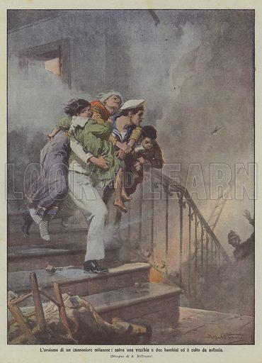 L'eroismo di un cannoniere milanese, salva una vecchia e due bambini ed e colto da asfissia. Illustration for La Domenica Del Corriere, 14-21 September 1913.