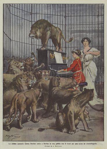 La celebre cantante Emma Destinn canta a Berlino in una gabbia con 14 leoni per una scena da cinematografo