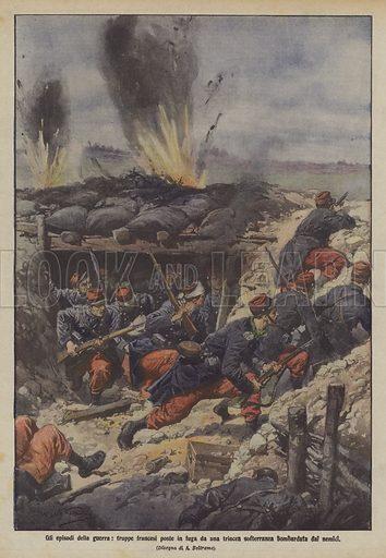 Gli episodi della guerra, truppe francesi poste in fuga da una trincea softerranea bombardata dai nemici. Illustration for La Domenica Del Corriere, 1-8 November 1914.