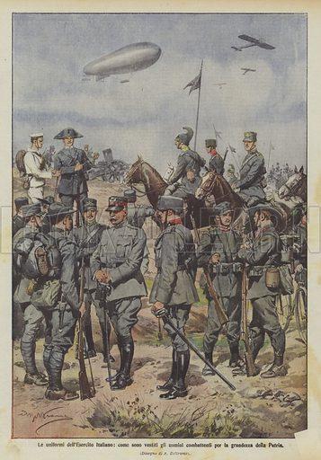 Le uniformi dell'Esercito Italiano, come sono vestiti gli uomini combattenti per la grandezza della Patria. Illustration for La Domenica Del Corriere, 30 May-6 June 1915.