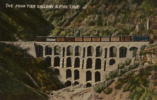 The Four Tier Gallery And Pipe Line, Simla, India.  Postcard, early 20th century.